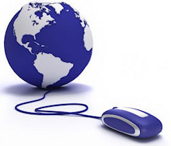 graphic of mouse linked to globe